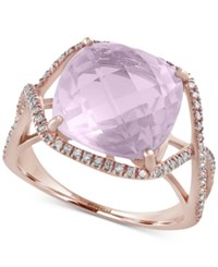 Effy Collection Serenity By Effy Rose Quartz 6 3 8 Ct. T.W. And Diamond 1 4 Ct. T.W. Statement Ring In 14K Rose Gold Pink