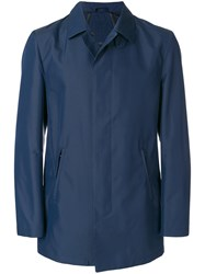 Corneliani Concealed Front Trench Coat Blue