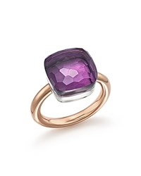 Pomellato Nudo Maxi Ring With Amethyst In 18K Rose And White Gold Purple Rose