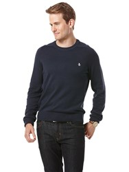 Original Penguin Raglan Sleeve Cotton Crew Neck Jumper Navy
