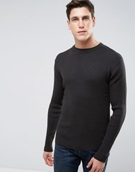 Brave Soul Ribbed Muscle Fit Jumper Grey