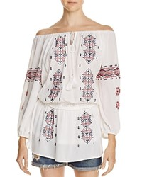 Freeway Embroidered Off The Shoulder Tunic White