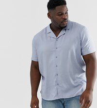 Another Influence Plain Revere Collar Short Sleeve Shirt In Blue White