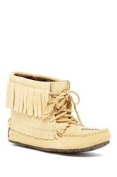 Manitobah Mukluks Harvester Synthetic Fleece Lined Suede Moccasin Beige