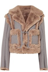 Opening Ceremony Insomniac Reversible Faux Fur And Houndstooth Cotton Blend Jacket Gray