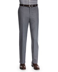Isaia Flat Front Flannel Trousers Light Gray