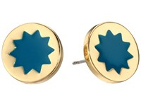 House Of Harlow Enameled Sunburst Studs Earrings Dark Teal Earring Blue