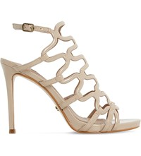 Dune Meemie Patent Caged High Heel Sandals Nude Patent