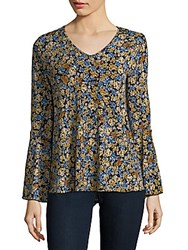 Chelsea And Theodore Floral Bell Sleeve Top Gold Blue
