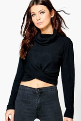 Boohoo Cowl Neck Ribbed Long Sleeve Crop Top Black