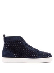Christian Louboutin Louis Spiked Leather High Top Trainers Blue