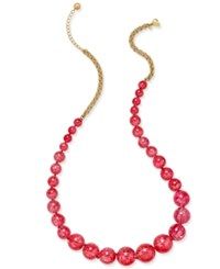 Kate Spade New York Gold Tone Large Beaded Long Length Necklace Red