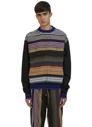 James Long Multicolour Striped Crew Neck Sweater Black