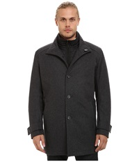 Marc New York Morningside Pressed Wool Car Coat W Removable Quilted Bib Charcoal Men's Coat Gray