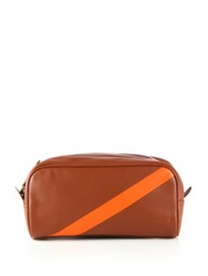 Polo Ralph Lauren Contrast Stripe Leather Shaving Kit Cognac Orange