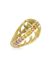 Sho London Silver Vermeil Mari Rush Ring Gold