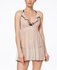 Betsey Johnson Eyelet Mesh Babydoll With G String Champagne