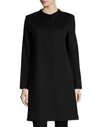 Fleurette Collarless Long Wool Coat Black