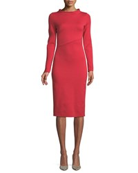 Emporio Armani Funnel Neck Long Sleeve Ponte Midi Dress Red