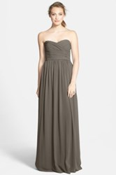 Monique Lhuillier Strapless Ruched Chiffon Sweetheart Gown Nordstrom Exclusive Gray