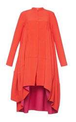 Antonio Berardi High Low Long Sleeve Dress Red