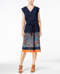 Tommy Hilfiger Cap Sleeve Border Shirtdress Only At Macy's Masters Navy Multi