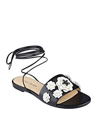 Ivanka Trump Catera Ankle Wrap Sandals Black White