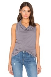 Bobi Light Weight Cashmere Terry Cowl Neck Tank Gray