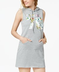 Material Girl Juniors' Printed Hoodie Dress Heather Grey