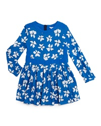 Little Marc Jacobs Long Sleeve Floral Print Dress Blue Size 4 12