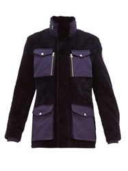 Schott Flap Pocket Shearling Field Jacket Navy