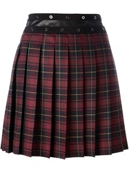 Giamba Pleated Plaid Skirt Red