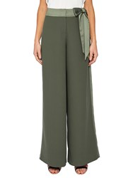Ted Baker Jaymi Bow Waist Wide Leg Trousers Dark Green
