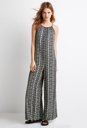 Forever 21 Tribal Print Crisscross Jumpsuit Black Cream