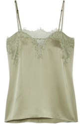 Cami Nyc Sweetheart Lace Trimmed Silk Charmeuse Camisole Green