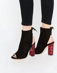 Truffle Collection Peep Toe Lace Up Boots With Contrast Heel Black Mf