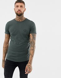 Religion Muscle Fit T Shirt With Curved Hem In Dark Grey Dark Metal