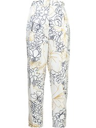Roksanda Ilincic Floral High Waisted Trousers White