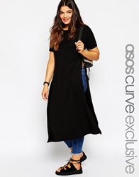 Asos Curve Maxi Tee With Side Splits Black