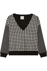Mason By Michelle Mason Houndstooth Intarsia Knit Sweater Black
