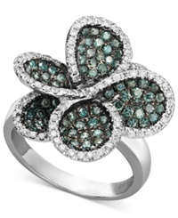 Effy Collection Bella Bleu By Effy Diamond Blue And White Diamond Pave Flower Ring 1 3 8 Ct. T.W. In 14K White Gold
