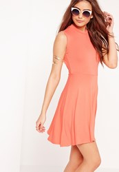 Missguided Sleeveless High Neck Cut Out Back Skater Dress Orange Pink