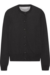 Maison Martin Margiela Tulle Paneled Knitted Cardigan Black
