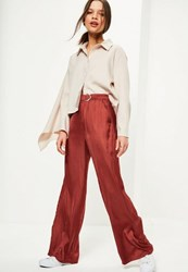 Missguided Petite Exclusive Red Satin Belted Wide Leg Trousers Terracotta