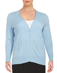 Lord And Taylor Plus Button Front Merino Wool Cardigan Blue