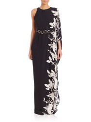 Halston One Sleeve Printed Gown Black Oyster Orchid