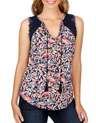 Lucky Brand Lace Trimmed Sleeveless Top Navy Multi