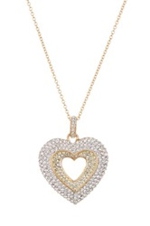 Nadri Two Tone Pave Puffed Heart Pendant Necklace No Color