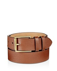Cole Haan Flat Strap Leather Belt With Stitched Edge Chestnut