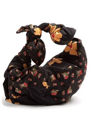 Simone Rocha Bow Tied Contrast Floral Panel Tote Black Multi